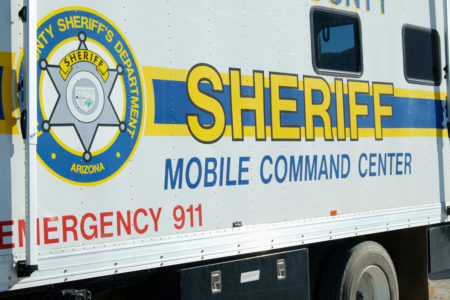 Sheriff's department mobile command center in the field.